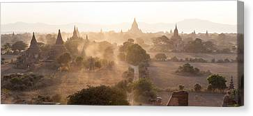 Ancient Temples At Sunset, Bagan Canvas Print by Panoramic Images