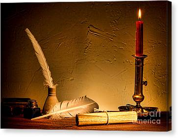 Candle Lit Canvas Print - Ancient Texting by Olivier Le Queinec