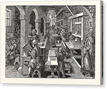 Ancient View Of A Dutch Printing-office Canvas Print by English School