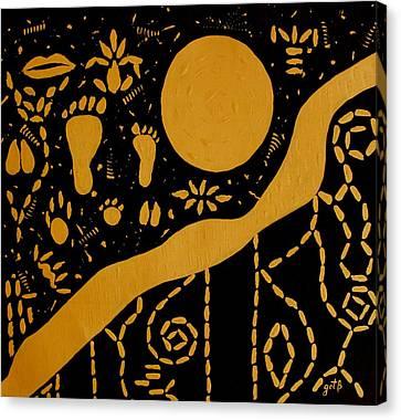 Ancient Worship Tribal Art Canvas Print by Georgeta  Blanaru