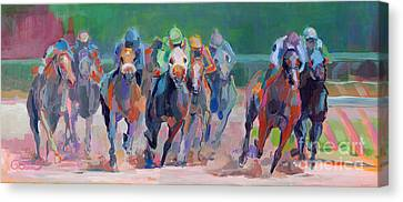 Jockey Canvas Print - And Down The Stretch They Com by Kimberly Santini