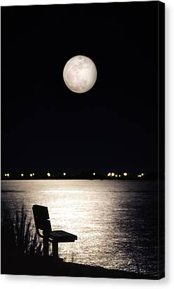 And No One Was There - To See The Full Moon Over The Bay Canvas Print by Gary Heller
