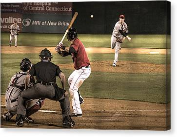 And Now The Pitch Canvas Print by William Fields