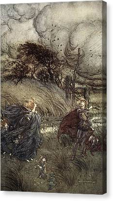 And Now They Never Meet In Grove Or Canvas Print by Arthur Rackham