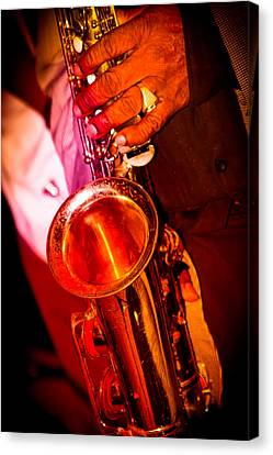 And On The Sax Canvas Print by Bonnes Eyes Fine Art Photography