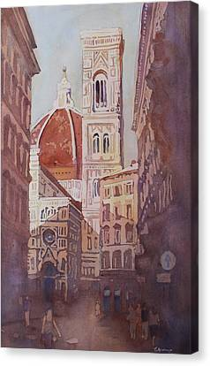 Italian Street Canvas Print - And Suddenly The Duomo by Jenny Armitage