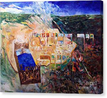 And The Angel Of Hashem Smote In The Camp Of Ashshur Canvas Print by David Baruch Wolk