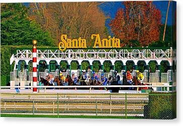 And They're Off At Santa Anita Canvas Print by Nadalyn Larsen