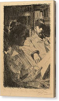 Anders Zorn, Reading La Lecture, Swedish Canvas Print by Quint Lox