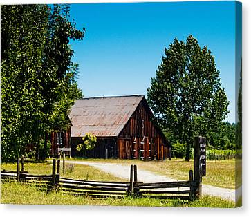 Country Lanes Canvas Print - Anderson Valley Barn by Bill Gallagher