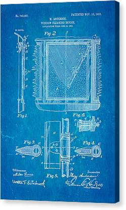 Anderson Windshield Wiper Patent Art 1903 Blueprint Canvas Print by Ian Monk