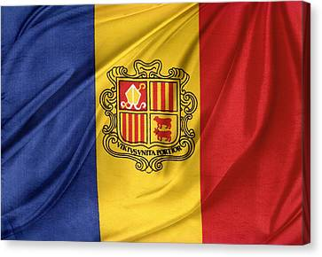 Andorra Flag Canvas Print by Les Cunliffe