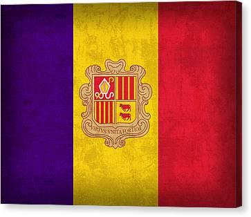 Andorra Flag Vintage Distressed Finish Canvas Print by Design Turnpike