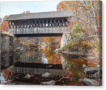 Andover Covered Bridge Canvas Print by Edward Fielding