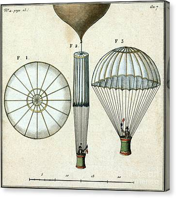 Andre Jacques Garnerins Parachute 1797 Canvas Print by Science Source