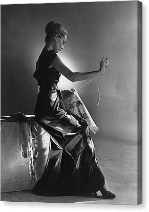 Andrea Johnson Wearing A Striped Dress Canvas Print by Cecil Beaton