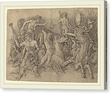 Andrea Mantegna Italian, C. 1431-1506, Battle Of The Sea Canvas Print by Litz Collection