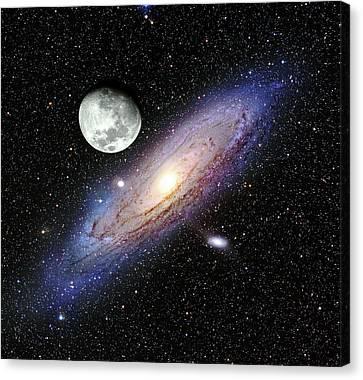 Andromeda Galaxy And Moon Canvas Print