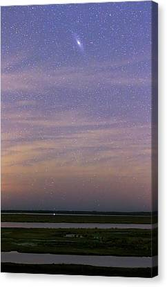 Andromeda Galaxy Over The Parana River Canvas Print by Luis Argerich