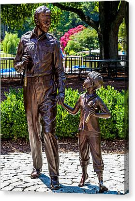Andy And Opie Statue Canvas Print by Arturo Vazquez