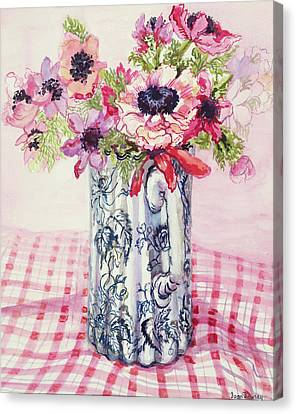 Anemones In A Victorian Flowered Jug Canvas Print by Joan Thewsey