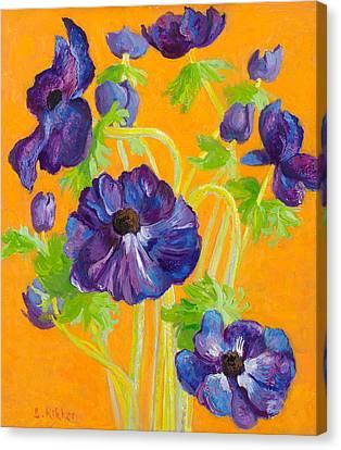 Anemones On A Darkyellow Background Canvas Print by Ben Rikken