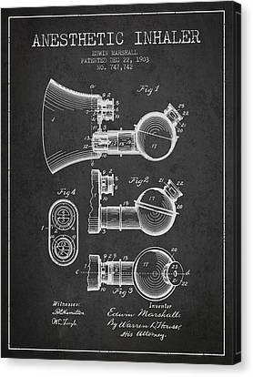 Anesthetic Inhaler Patent From 1903 - Charcoal Canvas Print by Aged Pixel