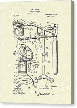 Anesthetic Machine 1919 Patent Art Canvas Print by Prior Art Design