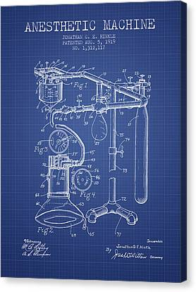 Anesthetic Machine Patent From 1919 - Blueprint Canvas Print by Aged Pixel