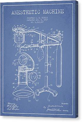 Anesthetic Machine Patent From 1919 - Light Blue Canvas Print