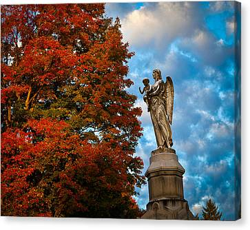 Angel And Boy In Foliage Scenery Canvas Print by Jiayin Ma