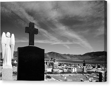 Angel And Cross Canvas Print by Mick Burkey
