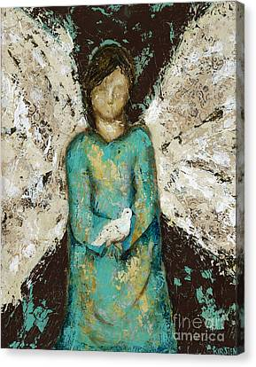 Angel  And  Dove Canvas Print by Kirsten Reed