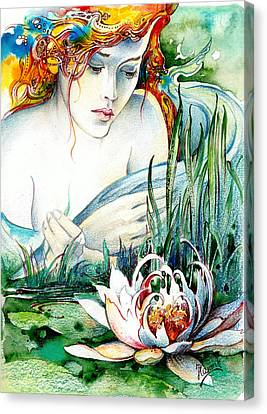 Canvas Print featuring the painting Angel And Lily by Anna Ewa Miarczynska