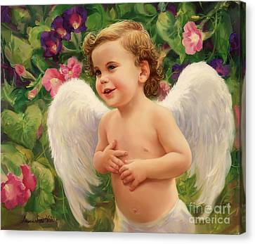 Angel And Morning Glory Canvas Print by Laurie Hein