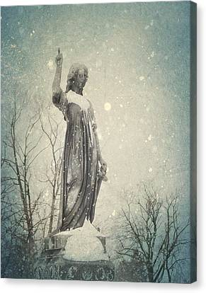 Snowy Gothic Stone Angel Canvas Print by Gothicrow Images