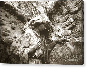 Angel Art - Surreal Ethereal Angel Wings Across Cemetery Wall  Canvas Print