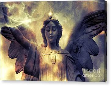 Angel Art Surreal Fantasy Heavenly Angel Celestial Spiritual Canvas Print by Kathy Fornal