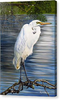 Canvas Print featuring the painting Angel At Sylvia's Pond by Phyllis Beiser