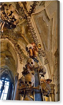 Angel Blowing A Gold Trumpet. Skulls And Crossbones. Canvas Print by Andy Za