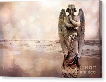 Angel Ethereal Spiritual Fine Art - Angel Art Quiet Surreal Ocean Scene Canvas Print by Kathy Fornal