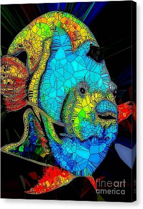 Tropical Colors Stain Glass Canvas Print - Angel Fish Stained Glass by Saundra Myles