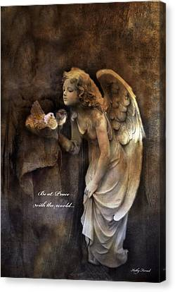 Angel Girl Holding Dove Inspirational Angel Art - Be At Peace With The World Canvas Print