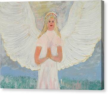 Angel In Prayer Canvas Print by Karen Jane Jones