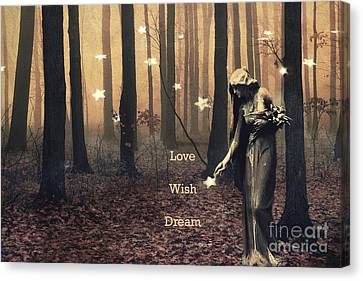 Angel Inspirations - Inspirational Angels Ethereal Spirit Female Haunting Fantasy Woodlands  Canvas Print by Kathy Fornal