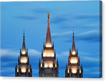 Angel Moroni Spires Canvas Print by La Rae  Roberts
