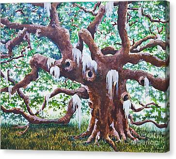 Canvas Print featuring the painting Angel Oak by Melissa Sherbon
