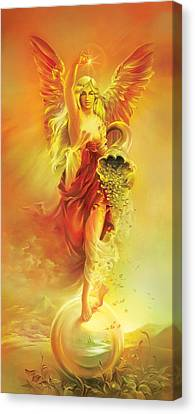 Angel Of Abundance - Fortuna Canvas Print by Anna Ewa Miarczynska