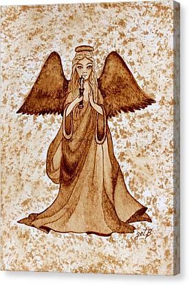 Angel Of Hope Original Coffee Painting Canvas Print by Georgeta Blanaru