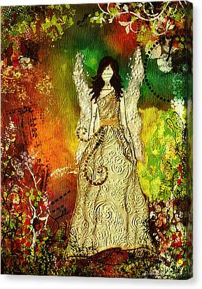 Angel Of Light Christian Inspirational Mixed Media Artwork Of Angel Canvas Print by Janelle Nichol